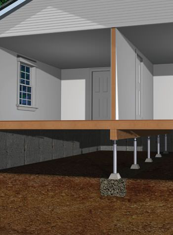 graphic render of a crawl space support post system