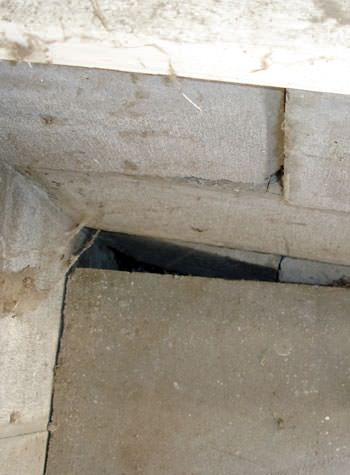inward rotation of a foundation wall damaged by street creep in a garage in Fitchburg