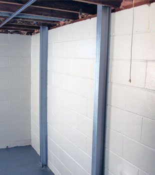 A PowerBrace™ i-beam foundation wall repair system in Providence